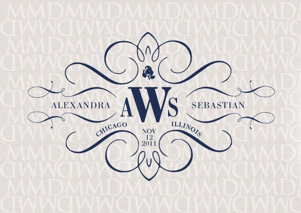 Elegance Calligraphy Custom Wedding Monogram Wedding Logo