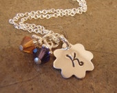 Flower girl personalized initial necklace with Swarovski crystal dangles - convo me to order more than one