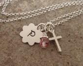 Cross and initial necklace - First communion necklace