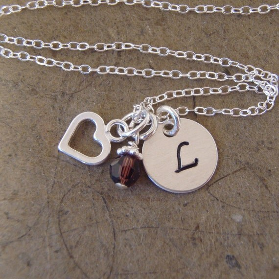 Initial charm necklace - Heart charm necklace with pearl or crystal accents