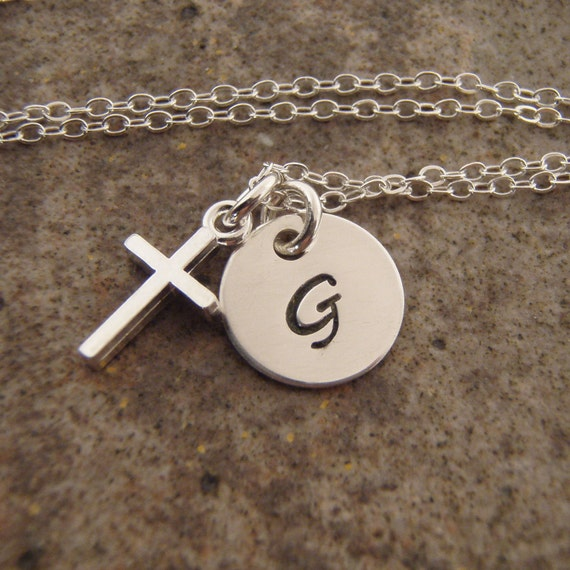 Initial and cross necklace - Hand stamped sterling silver charm necklace