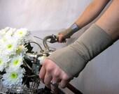 SALE Eco Wristlets - Bamboo Short Mushroom Fingerless Gloves