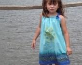 Custom Boutique Retro turquoise girl's pillowcase dress