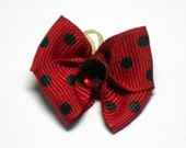 Ladybug Red with Black Dots Dog Grooming Hair Bow with Red Rhinestone Center