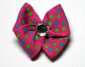 Hot pink with Multi colored dots with a Clear Rhinestone Dog Grooming Hair Bow