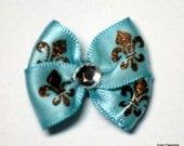 Fleur de Lis Teal Dog Grooming Hair Bow with Bronze Glitter Fleur de Lis - Clear Rhinestone