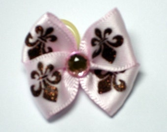 Pink Shimmer Fleur De Lis Dog Grooming Hair Bow with Pink Rhinestone Center