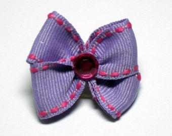Purple with Hot Pink Stitching Dog Grooming Hair Bow with Hot Pink Rhinestone Center