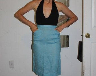 Vintage 1950's/1960's High Waist Light Blue Linen Skirt with Button Pockets/Mid Century/Mod