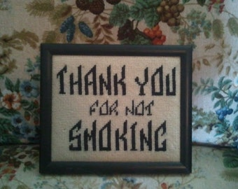 "Vintage 1970's Framed Humor Crochet Wall Art ""Thank You for Not Smoking"""