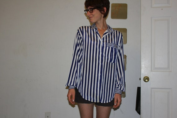 SALE // Vintage 1980's Women's Navy Blue Stripe Blouse