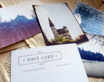 Photo Postcard Set -  Blue Fairy Tale Notecards - Vintage European Woodland Images