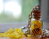 Honey Bee Keeper miniature glass vial silver bottle necklace handmade with genuine beeswax from local farm