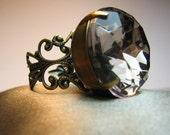 Smoked Topaz  - Glass Jewel Cocktail Ring, Vintage Gem, Antiqued Brass Filigree
