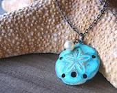Necklace, Round Sand Dollar Pendant, Turquoise, Swarovski Pearl, 18 Inch Brass Chain - NAUTICA