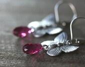 Dangle Earrings,  Butterfly Connectors, Swarovski Teardrops, Antiqued Silver - NECTAR