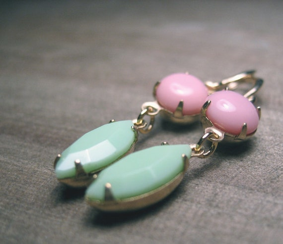 Mint and Pink Glass Dangle Earrings, Vintage gLass Cabochons, Gold Plated Earwires - FRENCH MACARONS