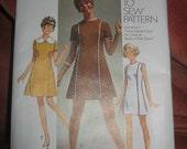 Vintage 1969 Simplicity uncut Sewing Pattern Dress 8612 Size 11 Mini dress Junior