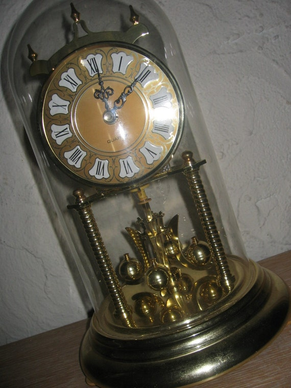 Working elgin glass dome anniversary quartz by properlyvintaged - Steampunk mantle clock ...