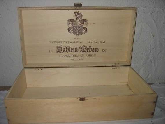 REDUCED 1976 German Wine wood Box  or Crate Hinged Cigar type Primitive Art
