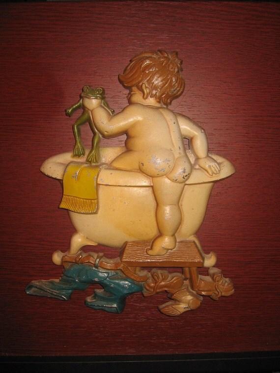 Vintage Cast  Iron Sexton Boy Frog Bathtub Bathroom Decor Wall Hanging TS