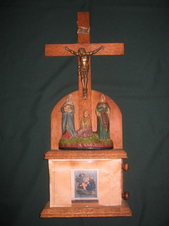 1904 Koenig Brothers Antique Wood Crucifix Scrolling 14 Stations of the Cross Catholic Religious