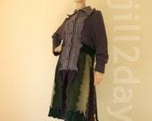RESERVED for LINDA    Purple Sweater coat cardigan long green medium large bohemian hippie coat