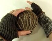 Brown wrist warmers, steampunk Fingerless gloves, arm warmers, cuffs,  tan
