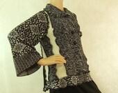Women cardigan sweater black white small medium fashion recycled