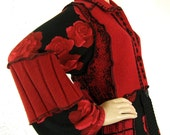 RESERVED ITEM Red Cardigan Sweater Coat, Tunic, Long sweater, Women Large