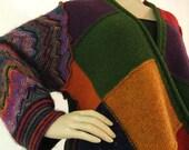 Multicolor Cardigan Large Sweater Open Wrap Womens Sweater