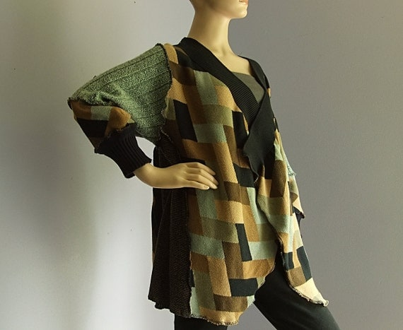 Wrap sweater large womens cardigan patterned open front