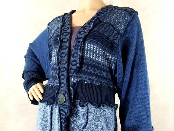 Reconstructed womens sweater Ice and Cornflower Blue Medium Nordic Winter Sweater
