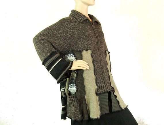Plus size sweater cardigan XL fashion recycled black and gray