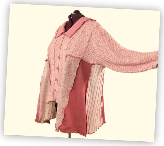 Plus Size Cardigan sweater, Spring fashion pink, non-wool XXL XXXL
