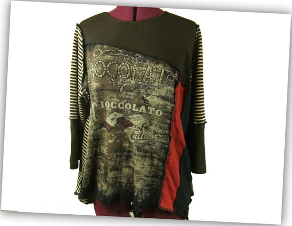 Womens Tshirt Tunic, chocolat, Large XL, recycled, upcycled