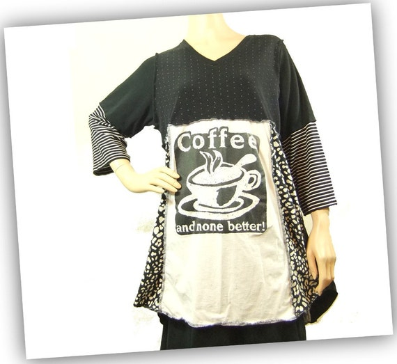 Tshirt tunic womens medium large, Black and White Coffee Graphic