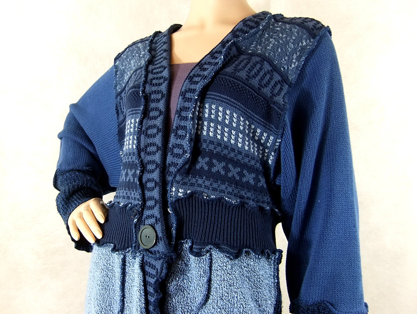 reconstructed womens sweater ice and cornflower blue medium. Black Bedroom Furniture Sets. Home Design Ideas