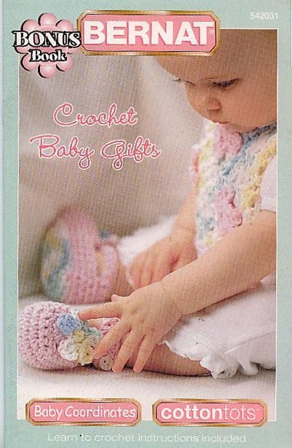 Bernat Crochet Baby Bib Pattern : Bernat Baby Gifts Bib Booties Blocks Mobile Blanket Crochet