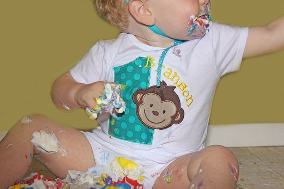 Mod Monkey Boys First Birthday Personalized Shirt...Second Birthday...Third Birthday