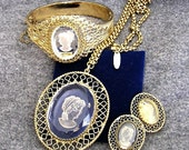 Whiting and Davis Gold Tone Cameo Parure