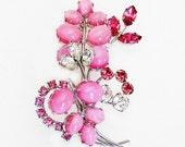Volupte Pink Molded Glass Floral Brooch