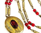 Red Glass Oval Locket Necklace Retro
