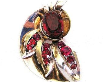 Mazer Sterling Ruby Glass Brooch