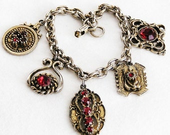 Jewelcraft by Coro Red Charm Bracelet
