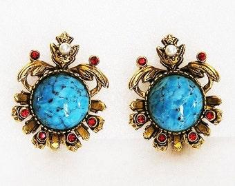 Florenza Aqua Matrix Earrings