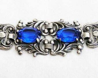 Silver and Cobalt Blue Glass Vintage Bracelet