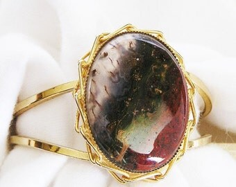 Jasper Multi Color Large Natural Stone Clamper Bracelet