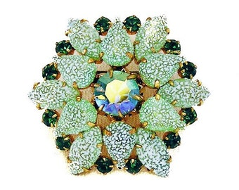Mint and Emerald Green Brooch