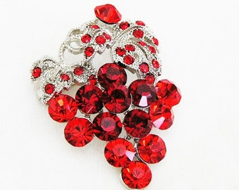 Red Dangling Grapes Figural Brooch